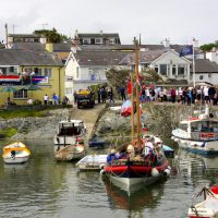 Cemaes Harbour with the Charles Henry Ashley Lifeboat